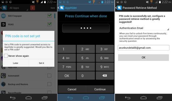 set pin lock in Hide App for Android