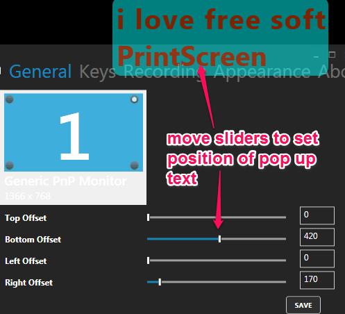 set pop up text position