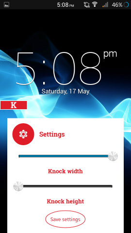 set position for knock lock for android