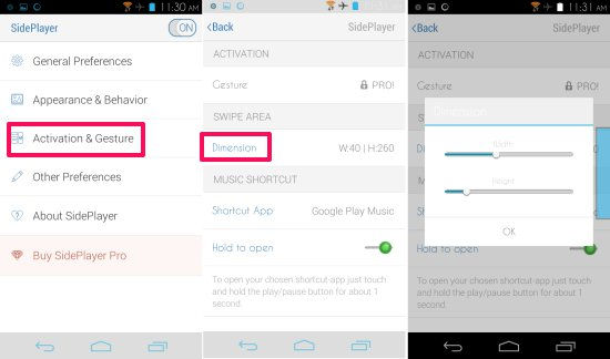 settings in SidePlayer For Android