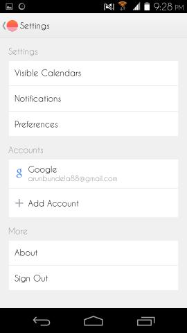 settings in sunrise calendar for android