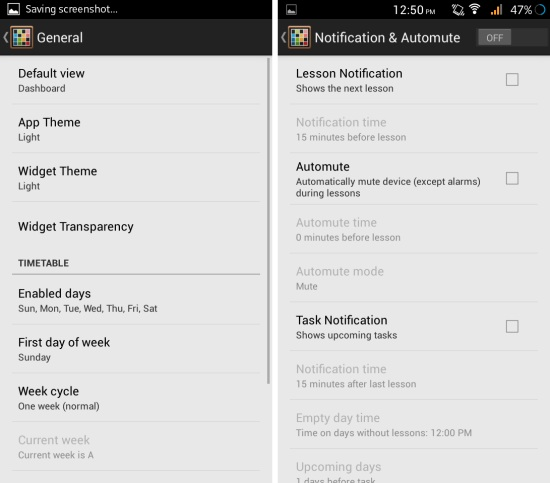 settings in timetable for android