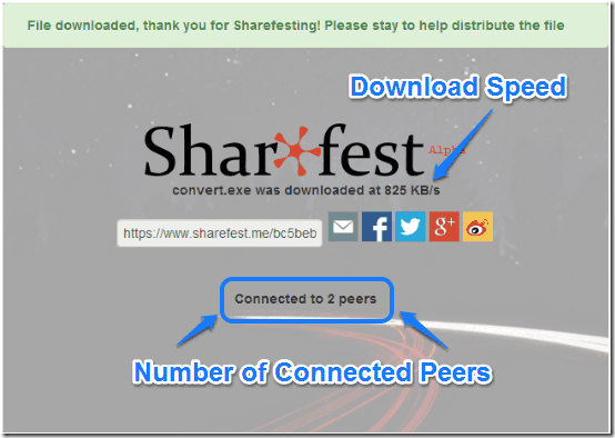 sharefest file reception and download info