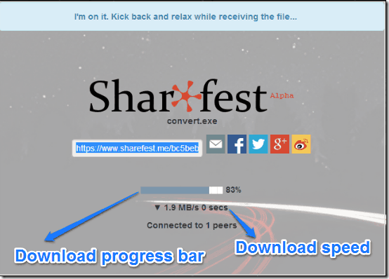 sharefest file reception