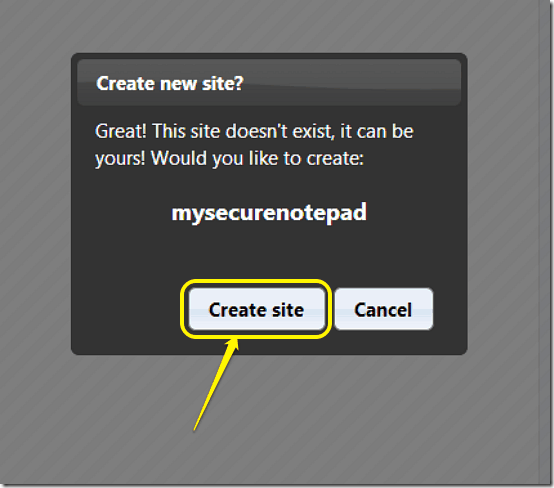 site creation notification