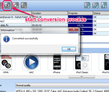 start conversion process