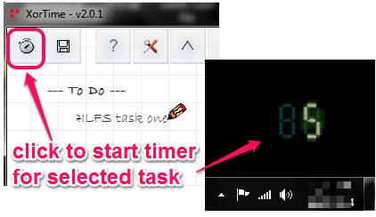 start timer for selected task
