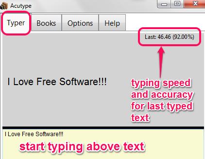 start typing text