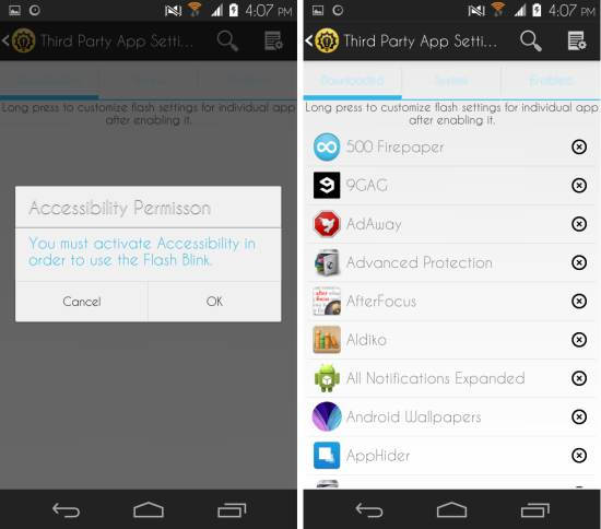 third party notifications in Flash Blink for Android