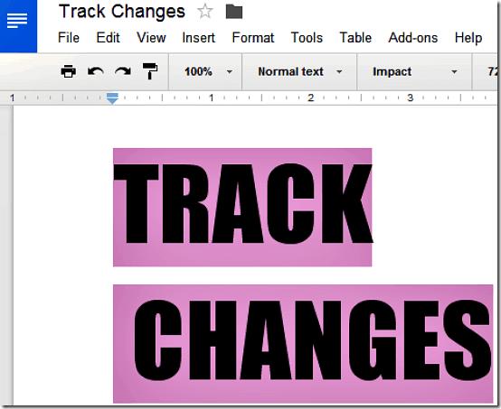 track changes header