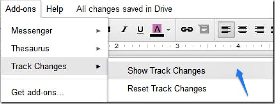 track changes start