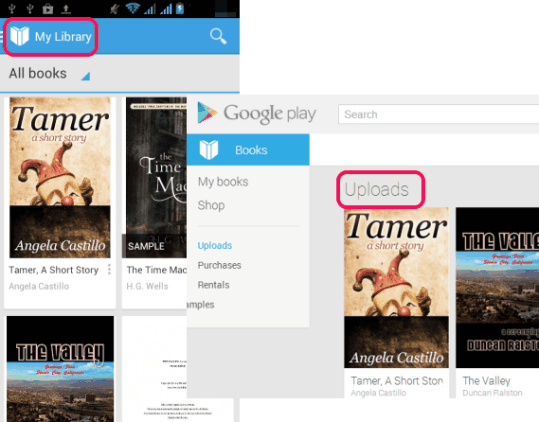 upload own eBooks on Google Play Books