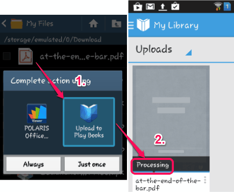 use Upload to Play Books option
