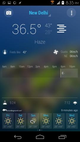 weather forecast in Bright Weather for Android