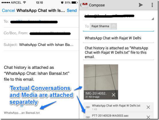 whatsapp email backup