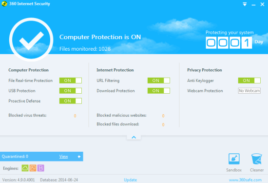 360 Internet Security- interface