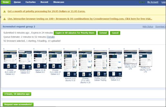 BrowserShots Cross Browser Testing Tool
