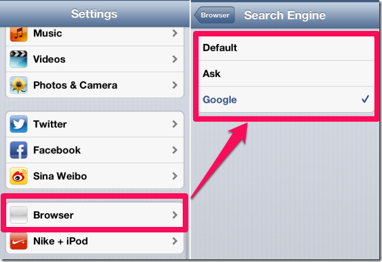 Chnaging Default Search Engine