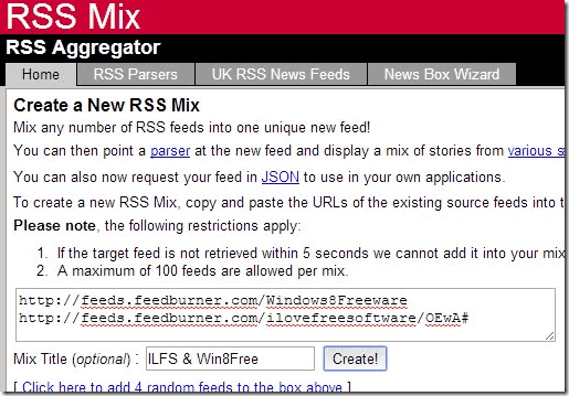 Cimbined RSS Feeder - RSS Mix