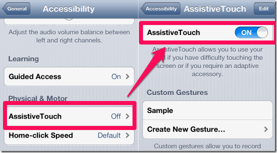 Enabling AssistiveTouch