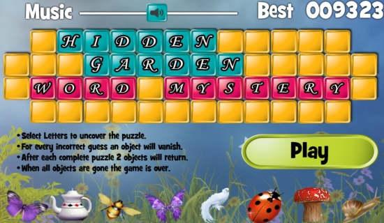 Hidden Garden Word Mystery-Home screen