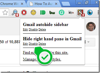 Hide Gmail Right Sidebar Stylish Chrome Extension