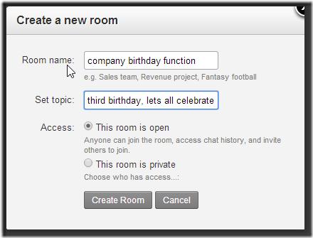 Hipchat create room
