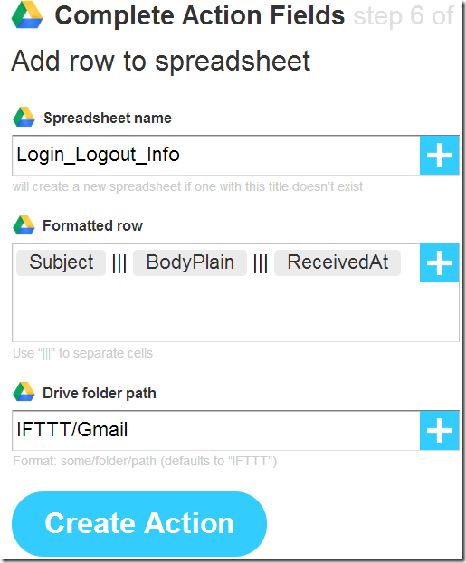 IFTTT Login Logoff Entry