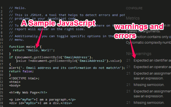 JSHint- JavaScript error checker tool