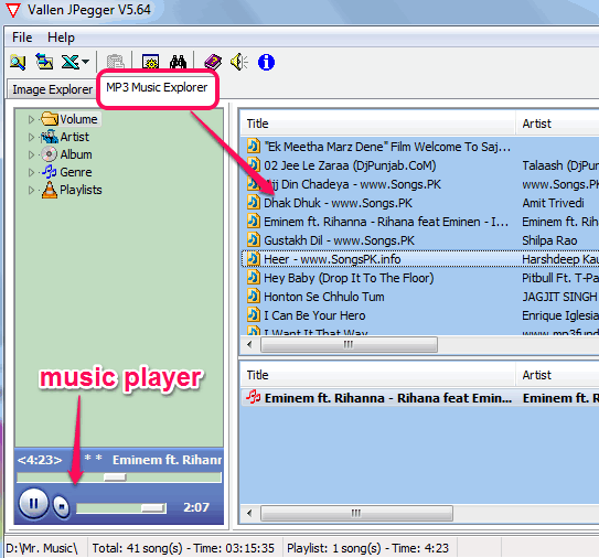 MP3 Music Explorer
