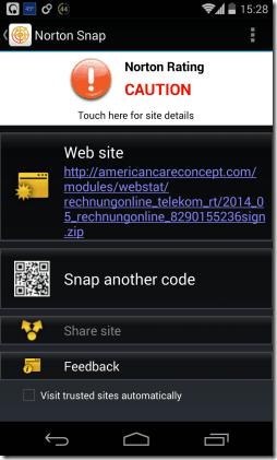 Norton Snap Malicious URL