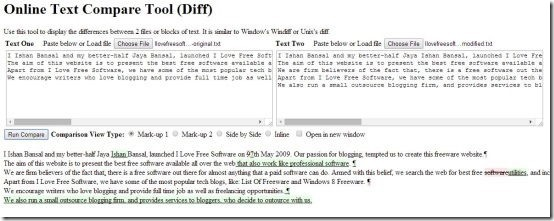 Online Text Compare Tool (Diff)