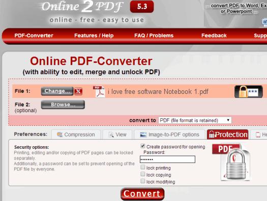 Password Protect PDF Online - Online2pdf