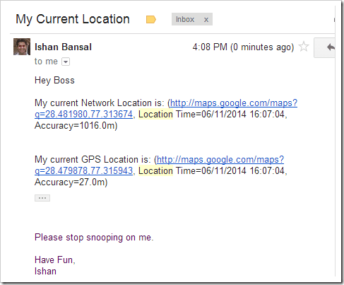 Physical Location in Email