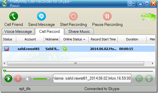 PrettyMay Call Recorder for Skype