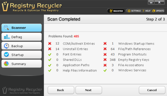 Registry Recycler- scan and fix registry errors