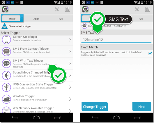 SMS Trigger - AutomateIt