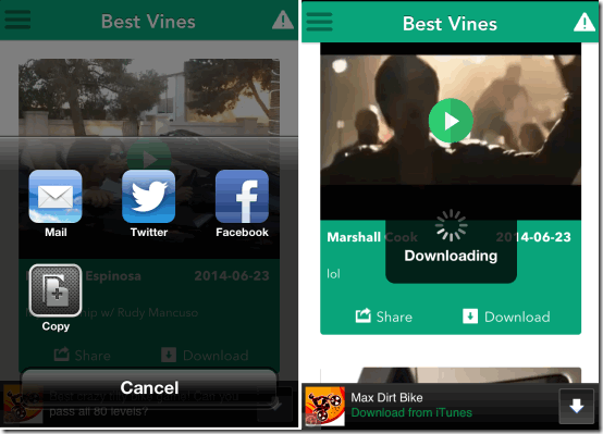 Sharing and Downloading Vines