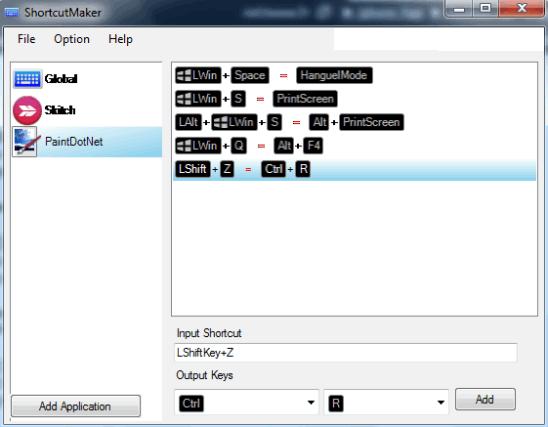 ShortcutMaker- interface