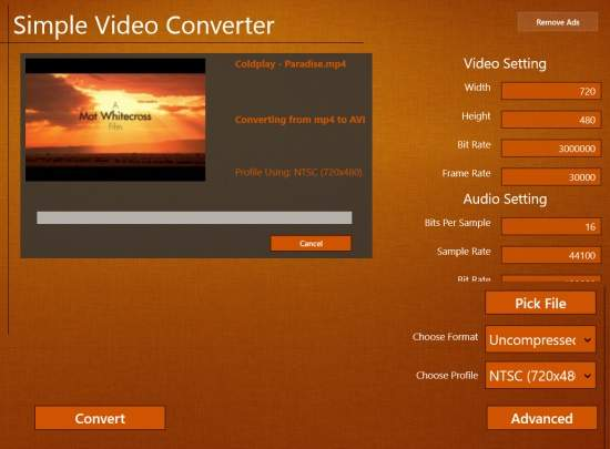 Simple Video converter-Advance Option