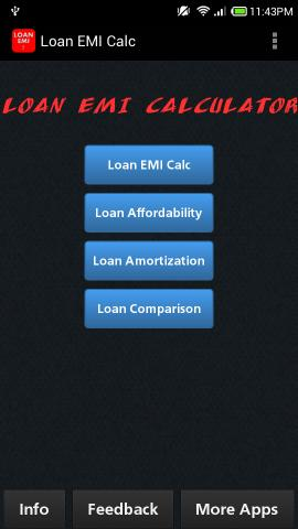 Using Free Loan EMI Calculator app for Android