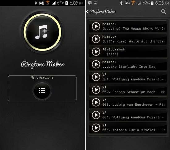 Using Ringtone Maker Delux for Android to make ringtones