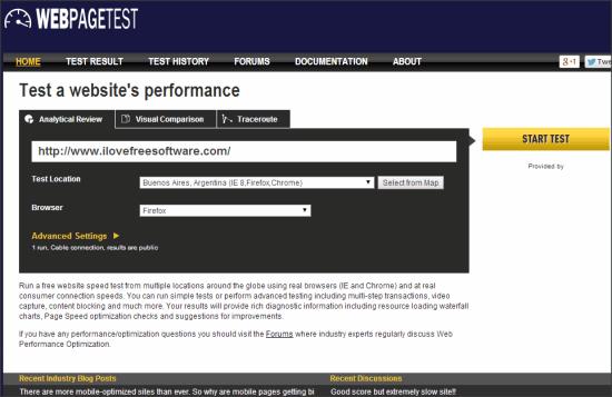 Webpagetest Cross browser testing tool