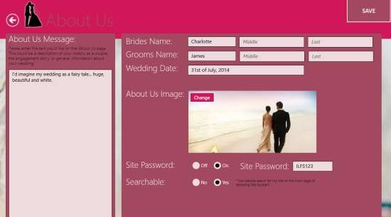 Wedding Site Builder-About Us Customize