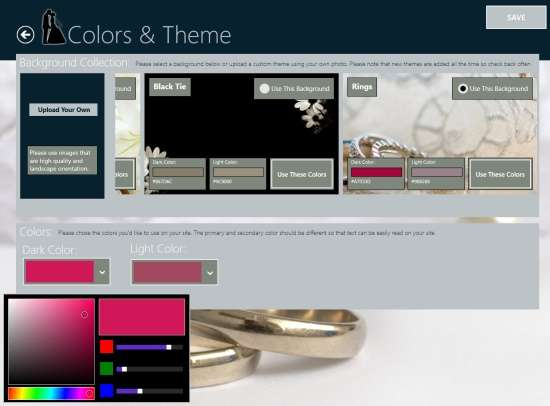 Wedding Site Builder-Color and Theme