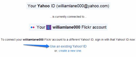 account info flickr yahoo