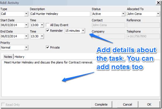add activity details