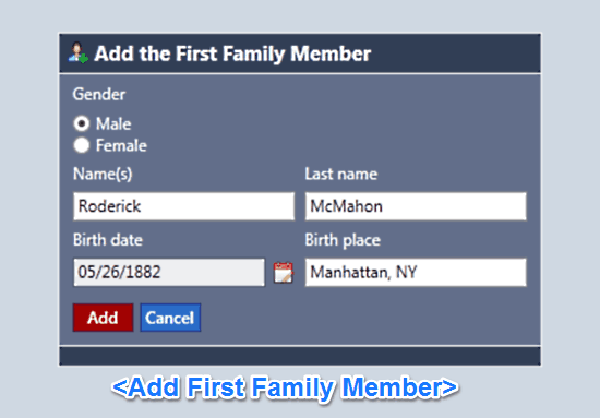 add family member first