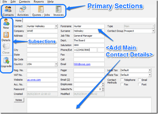 add main contact clarity
