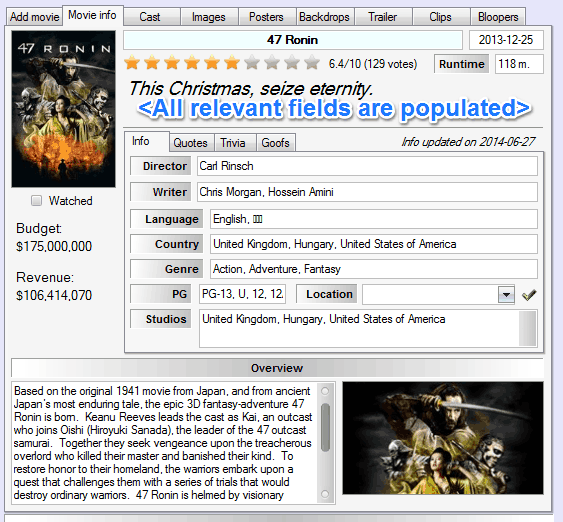 added information to movies